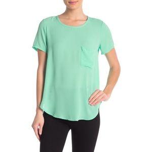 Lush Women's Mint Green Short Sleeve Woven Blouse
